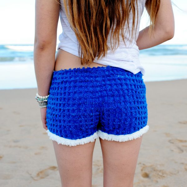 Blue Chenille Fringe Shorts